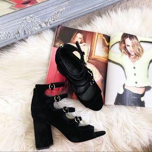 Joie Laina Velvet Strappy Block Heel Pumps NEW